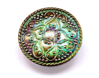 Hand Made Art Czech Glass Button, Green Vitrail - Gold, size 14'', 32mm 1 pc (BO12053/14)