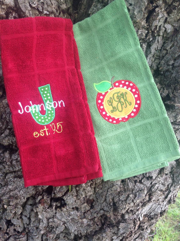 Monogram Dish Towel Set Of Two