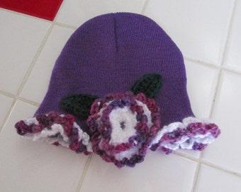 Child beanie cap with flower