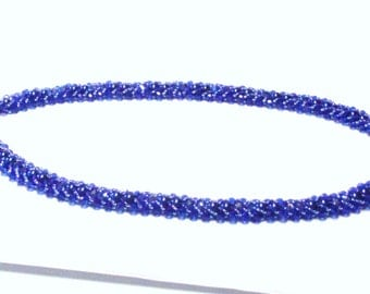 Handmade Bead Woven Necklace in Blue