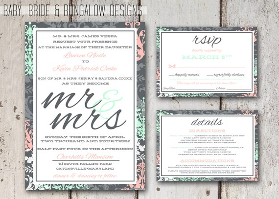 Modern Damask Wedding Suite: printable and customizable, 5x7