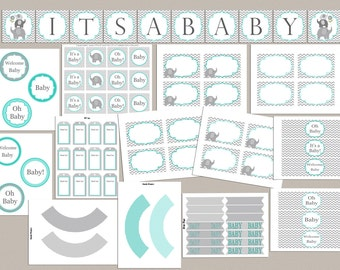 Baby Shower Decorations  Baby Shower Party Pack Baby Shower Party Package Printable Elephant Baby Shower Package Baby Shower Decor (01)