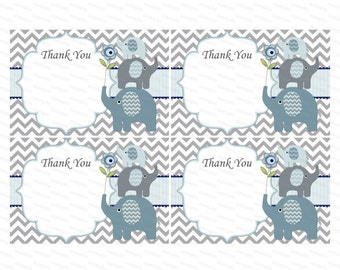 Thank you card boy baby shower thank you notes baby thank you tag insert thank you elephant baby shower (49eb) - instant download