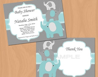 Boy Baby Shower Invitation Elephant Baby Shower Invitation Baby Boy Shower Invitation Baby Shower Invite (57ta) - Free Thank You Card