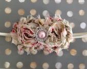 Baby girl headband, newborn headband, toddler headband, cream floral shabby headband, vintage floral headband