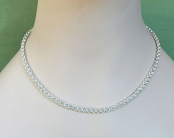 925 Sterling Silver Chain Necklace Jens Pind Weave Chainmaille handmade JP2 chain mail silver wire jewelry chainmail necklace