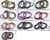 Unisex 2.5mm Multi Mixed Waxed Cotton Cord Handmade Bracelet Wristband Surfer Cuff USA Multi Mix Red Green Blue Yellow Black Purple Burgundy
