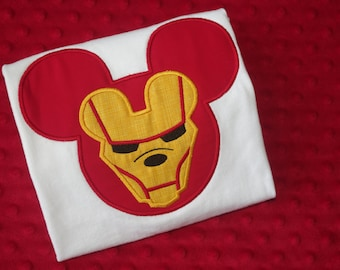 Iron Man - Marvel Super Heroes with Mickey Mouse Ears Appliquéd Shirts -- Disney Family Vacation Shirts