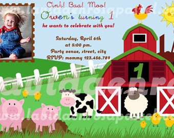 Printable Farm Invitation - On the Farm Birthday Invitation - FREE thank you card
