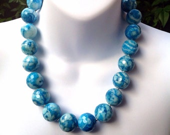 Chunky blue Agate necklace. Blue crazy lace Agate necklace. Large 20mm blue Agate necklace. Turquoise Agate necklace.