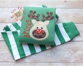 Custom Christmas Reindeer Pajamas - Personalized PJs - Toddler Santa'd Deer PJs - Holiday Pajamas - Red Nose Reindeer