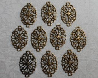"Vintage gold plate brass filigree connectors,3/4""x1/2"",10pcs-FLG09"