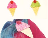 Quirky Kitsch Glittery Pastel Ice Cream Hair Clip Brooch
