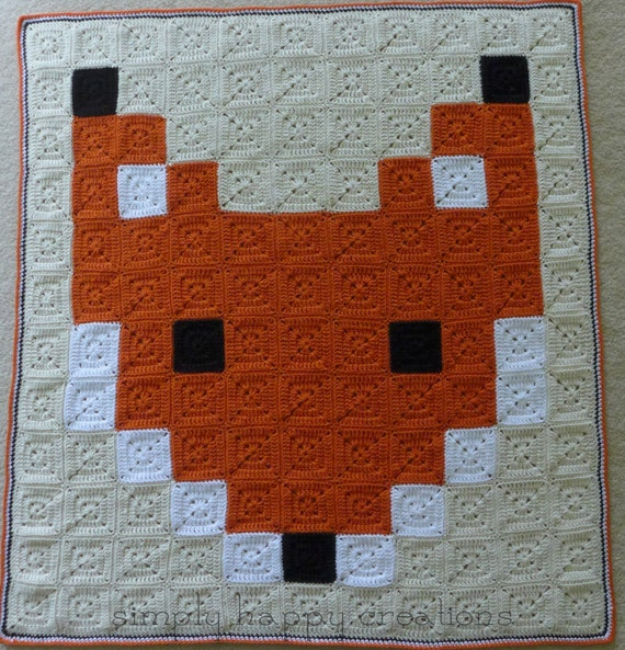 Made to Order--Crochet 8-Bit Pixel Art Throw Blanket--Mr. Red Fox