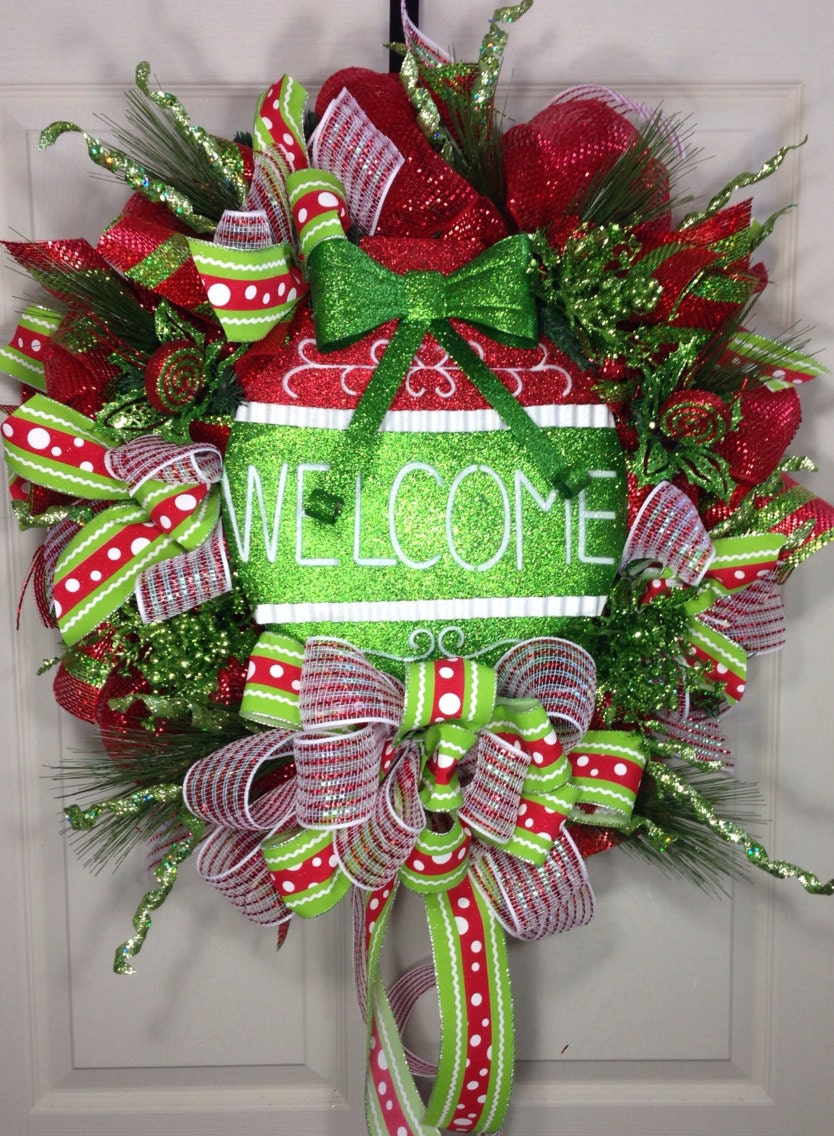 welcome christmas wreath on - photo #3