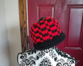 Black and Red Checkerboard Hat