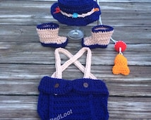 Crochet Newborn - 3 Months Baby Fisherman Photo Prop Outfit Diaper Cover, Fishing Hat, Boots, Fish and Bobber Set Great Gift