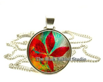Red Leaf - pendant, Red Leaf Jewelry, Leaf Necklace