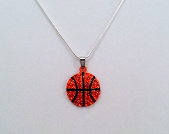 "16""18"" 20"" 22"" Silvertone Rhinestone Basketball Necklace Bling Basketball MOM/Player"
