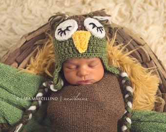 Baby Barley & Forest Green Sleepy Owl Laplander Hat - 0 to 3 Months, 3 to 6 Months, 6 to 12 Months - Animal, Woodland