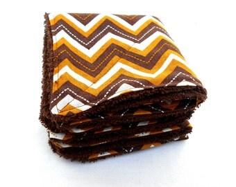 Brown Chevron Dish Cloths - Reusable Paper Towel Face Cloth Brown Earth Tones Chevron