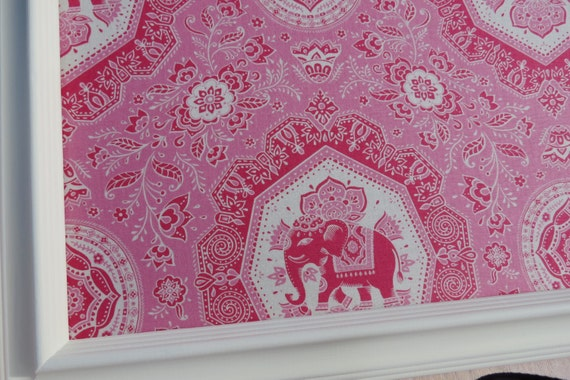 Framed Fabric Cork Board, Message Board, Pink Elephants