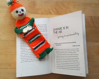 Bookmark Knit Hand Made Original Orange Green Handmade Book mark Gift Present Knitted Wool Product