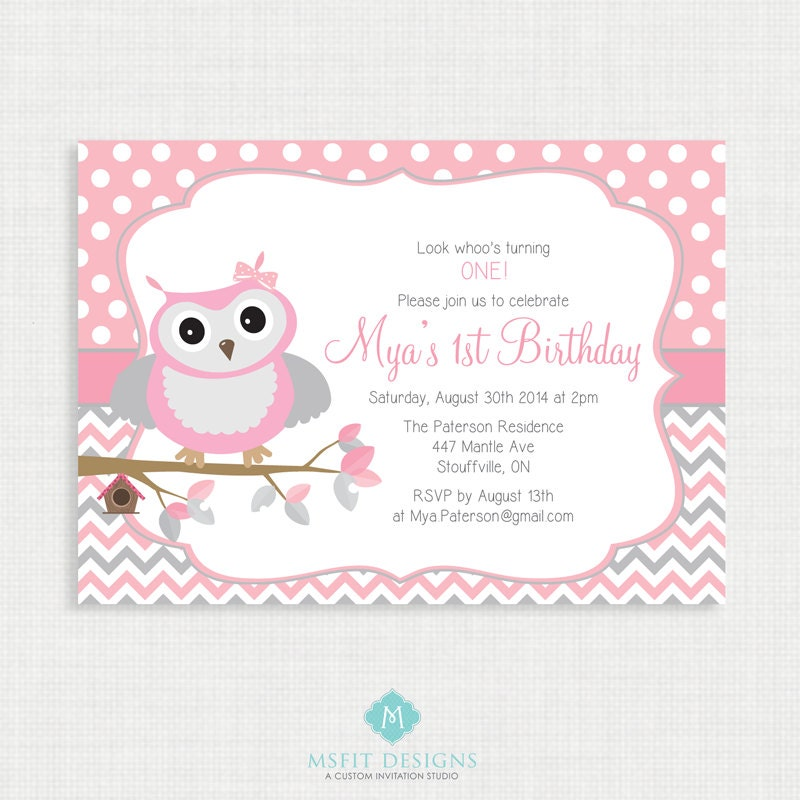 Printable Birthday Invitation Picture Owl Birthday
