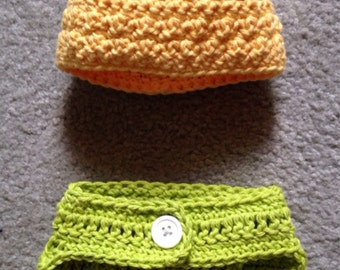Ready to ship NOW! --Preemie/Newborn Pineapple hat and diaper cover/photo prop
