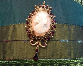 Cameo Pendant/Brooch with Faux Garnets by Florenza