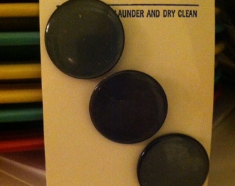 Vintage black buttons, original card, sold as sewing supplies