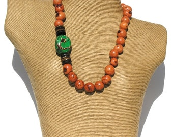 Classic  Orange Pambil-Green Tagua Seeds Necklace.