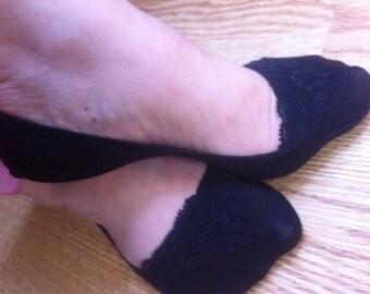 Cotton BLACK LACE SOCKS, Lined in Lace Socks in Black/ black lace sock , foot liner,Lace Peep Socks,