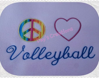 Embroidered Volleyball T-shirt - Peace Love Volleyball Embroidery Shirt - School Spirit Volleyball Shirt - Gift under 20