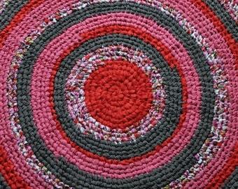 "40"" Handmade Crochet Rag Rug in pink, red, grey and black"