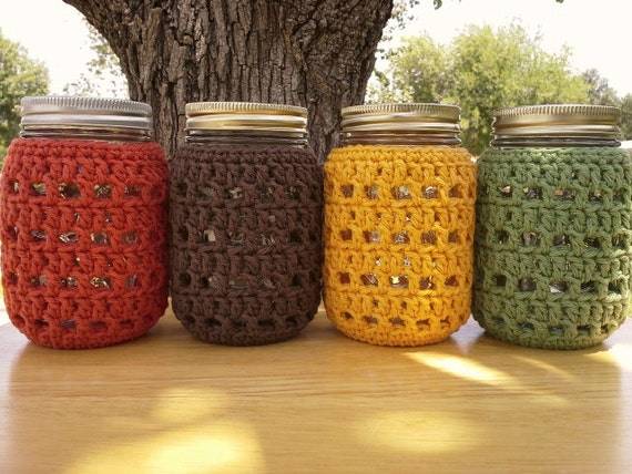 Crochet Mason Jar Cozy Pint Sized Jar Cover Bottle Cozy