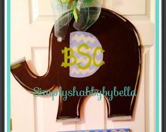 Cute birth announcement door hanger in chevron elephant