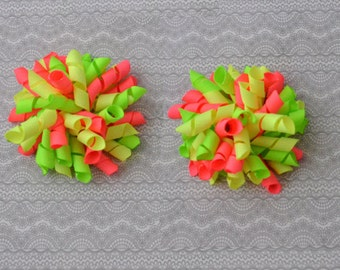 Neon Hair Bows, Korker Hair Bows, Korker Bows, Baby GIrl Hair Bows, Korkers, Pigtail Hair Bows, Hair Clips, Neon Hair Bow
