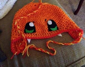 adult size Charmander crochet hat