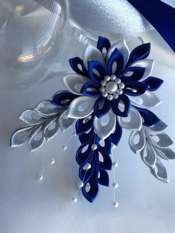 Dark Blue And White Flowers: Royal Blue Cobalt Blue Dark