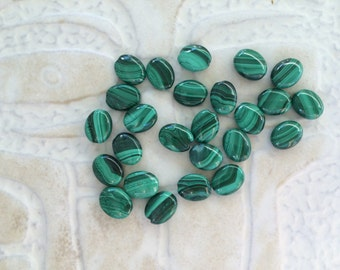 Malachite Beads, Flat Ovals, 10 by 8mm, Banded, Green, Beading, Jewelry Making, Wholesale