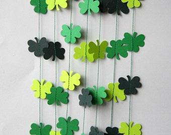 St Patricks garland, Clover shamrocks garland, St Patrick's Day banner, clover garland, Clover decoration, Irish Wedding, KH-5001