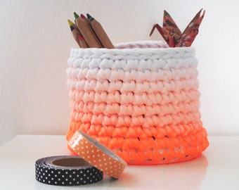Orange Neon Crochet Basket-Office Storage Basket-Modern Basket-Dip Dye Orange Basket-Gift for Her-Small Storage Basket-Cosmetic Basket