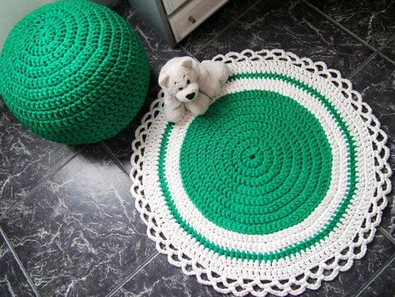 Crocheting Round Rugs : Crochet Round Rug-Emerald Kids Rug-Nursery Rug-Baby Play Mat Rug-Baby ...