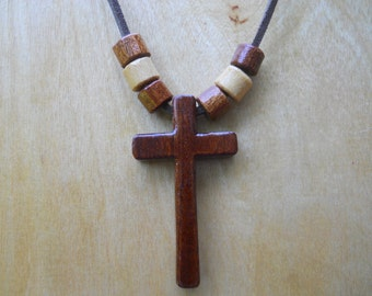 Handcrafted Wooden Cross Necklace