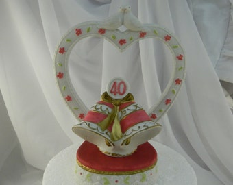 40th Anniversary Cake Topper/ Vintage/ Wedding/ Collectors