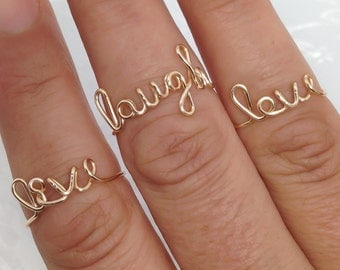 Set of 3, Live laugh love rings, wire word ring, wire ring, adjustable ring, wire letters, letter rings, word ring, love live laugh rings