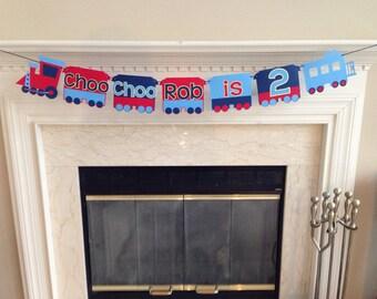 Choo Choo I'm 2, Choo Choo I'm two banner, Train Theme Birthday Party, Train Theme Birthday Banner, Boy's second birthday party ideas