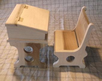 """Old time wooden school desk for 18"""" dolls"""