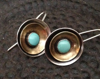 Turquoise and Silver Earrings - Golden Discus